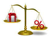 Gift box and percent on scales. Isolated 3D image — Stock Photo