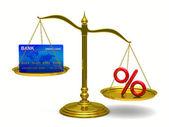 Kreditkarte und prozent auf waage. isolierte 3d-bild — Stockfoto