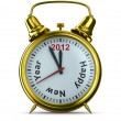 2012 year on alarm clock. Isolated 3D image — 图库照片