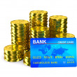 Stock Photo: Column of golden coins and credit card. Isolated 3D image