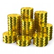 Stock Photo: Column of golden coins isolated on white. 3D image