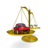 Car and cashes on scales. Isolated 3D image — Stock Photo