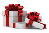 White gift boxes. Isolated 3D image — Stock Photo