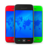 Three phone on white background. Isolated 3D image — Stock Photo
