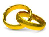 Deux bagues de mariage or. image 3d isolé — Photo