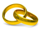 Two gold wedding rings. Isolated 3D image — Stock Photo