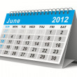2012 year calendar. June. Isolated 3D image — Stock Photo