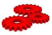 Three red gears on white background. Isolated 3D image — Stock Photo