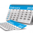 Stock Photo: 2012 year calendar. February. Isolated 3D image