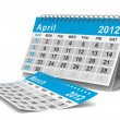 2012 year calendar. April. Isolated 3D image — Stock Photo #7808018
