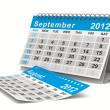 2012 year calendar. September. Isolated 3D image - Stock Photo