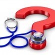 Stethoscope and question on white background. Isolated 3D image — Foto de Stock
