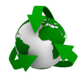 Recycling arrows and globe. Isolated 3d image — Stock Photo