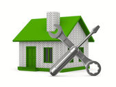 House repairing on white background. Isolated 3D image — Stock Photo