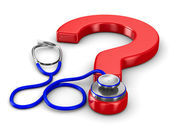 Stethoscope and question on white background. Isolated 3D image — Stock Photo