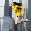 Brunette jumping — Stock Photo