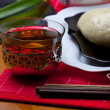 Red tea and korean cakes pyan-se - Stock Photo