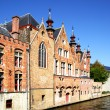 Houses on canal in Bruges - Stock Photo