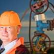 Stock Photo: Engineer in an Oil field