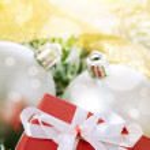 Christmas balls and box — Stock Photo