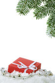 Branch fir and box — Stock Photo