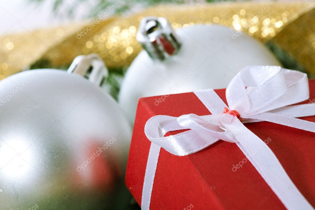 Christmas balls and box gift — Stock Photo #7441024