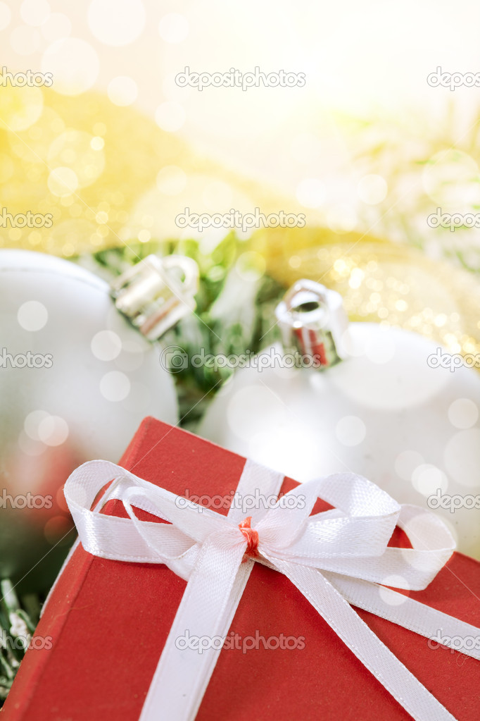Christmas balls and box gift — Stock Photo #7441042