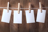 Photo paper attach to rope — Stock Photo
