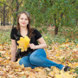 Beautiful brunette girl in autumn park — Stock Photo #7498098