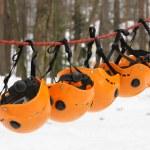 The orange helmets — Stock Photo