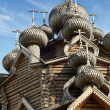 Stock Photo: Cupolas of wooden Christ Orthodox church