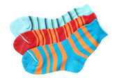 Child's striped socks — Stock Photo