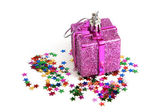 Christmas toy with confetti — Stok fotoğraf