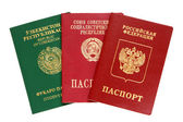 Russian, Uzbekistan and old USSR passports — Stock Photo