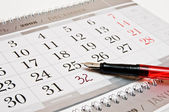 Foutain pen, 32 numbers in a calendar — Stock Photo