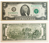 деньги закрыть вверх, 2 американский доллар — Стоковое фото