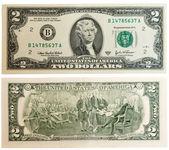 Geld dicht omhoog, 2 amerikaanse dollar — Stockfoto