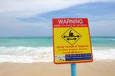 Beach warning sign — Stock Photo