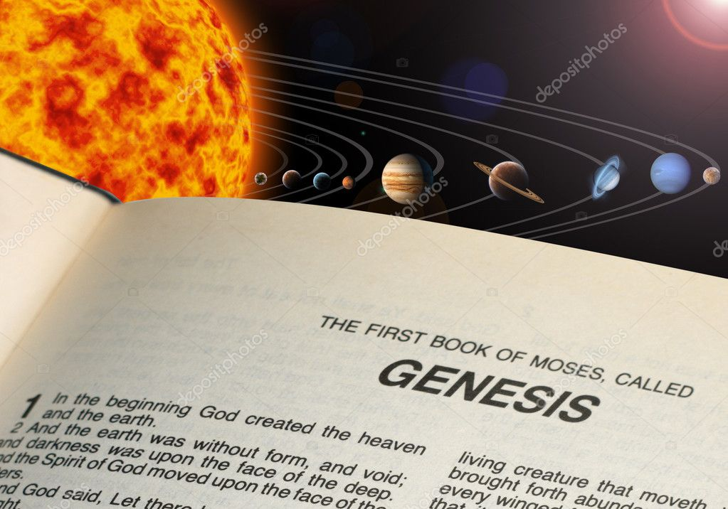 An illustration of our solar system. and Bible book Genesis — Stock Photo #6990993