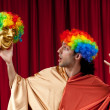 Actor with maks in funny theater concept — Stock Photo #6819055