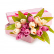 Flowers and gift box isolated on white — Stock Photo