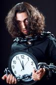 与人和时钟的时间概念 — 图库照片