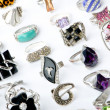 Selection of many precious rings - Zdjęcie stockowe