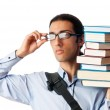 Student with stack of books on white — Stock Photo #6837497