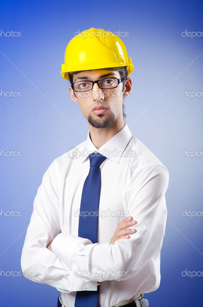 Young engineer wearing hard hat — Stock Photo #6836907