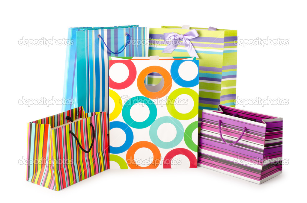 Shopping concept with bag on white — Stock Photo #6836914