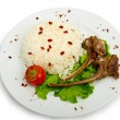 Royalty-Free Stock Photo: Lamb ribs with rice served in the plate