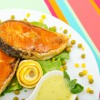 Roasted salmon in the plate — Stock Photo #6843305
