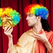 Actor with maks in funny theater concept — Stock Photo #6843500