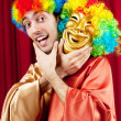 Actor with maks in a funny theater concept — Stock Photo #6843556